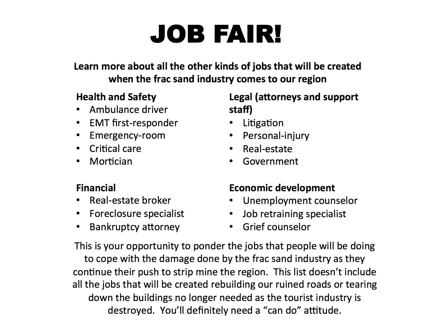 Job Fair The Frac Sand Frisbee